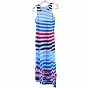 Lands End Red + White + Blue Striped Maxi Dress L